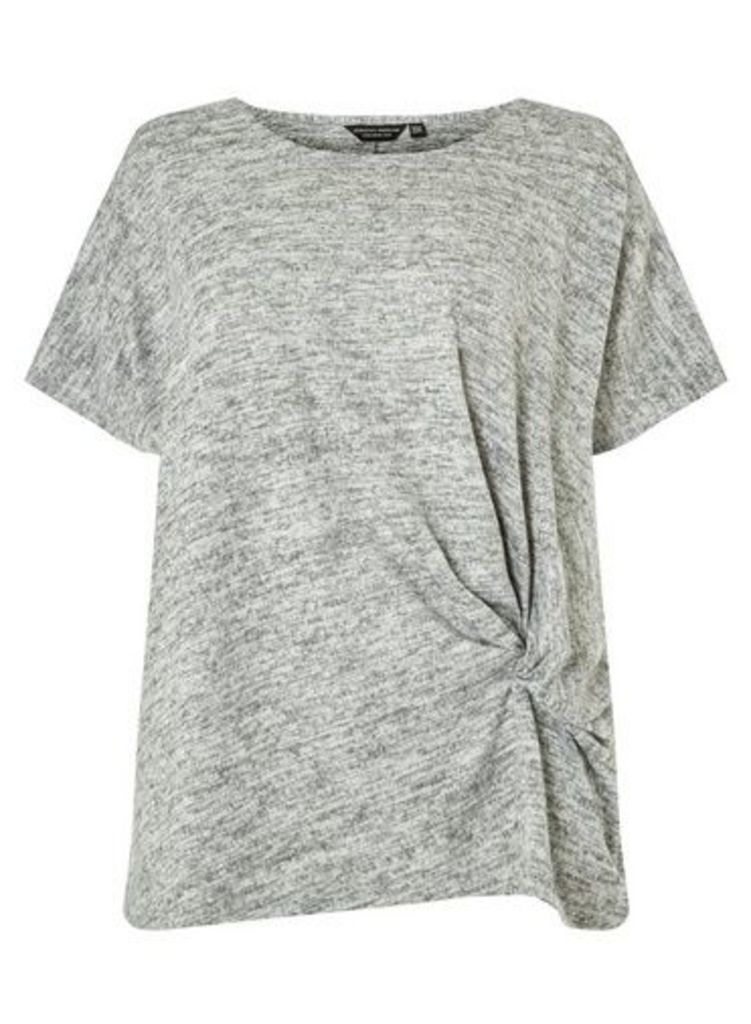 Womens **Dp Curve Grey Twist Side T-Shirt- Grey, Grey