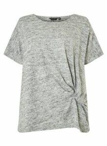Womens **Dp Curve Grey Twist Side T-Shirt- Grey, Grey