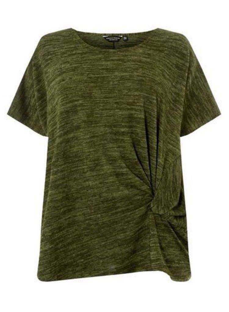 Womens **Dp Curve Khaki Twist Side T-Shirt- Khaki, Khaki