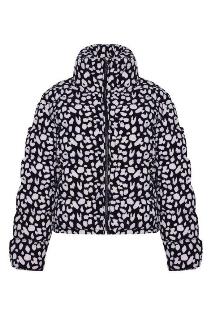 Womens **Snow Leopard Print Puffer Jacket By Glamorous - Multi, Multi