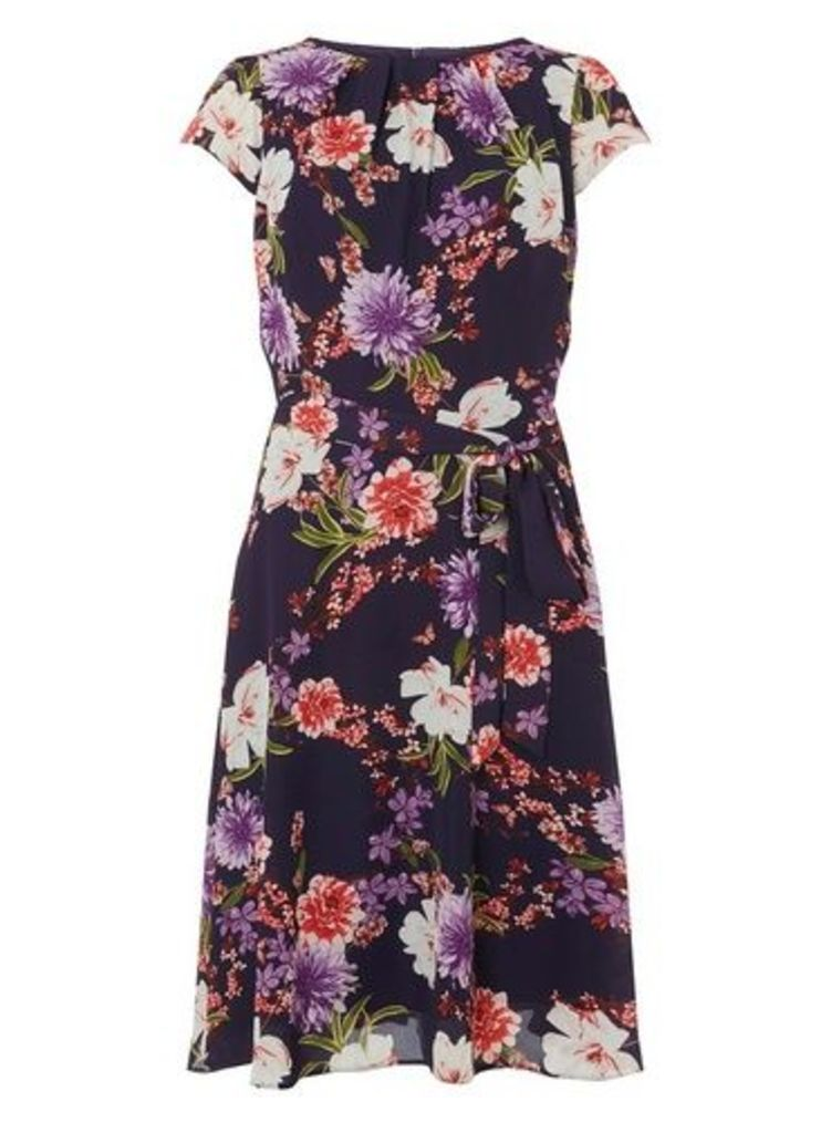 Womens **Billie & Blossom Tall Navy Floral Print Pleated Neck Skater Dress- Blue, Blue