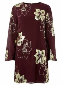 Womens **Burgundy Gold Foil Shift Dress- Red, Red