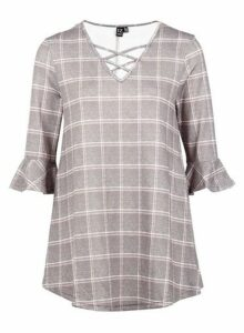Womens *Izabel London Red Checked Tunic Top- Red, Red