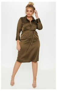 Plus Khaki Satin Pocket Detail Midi Dress, Green