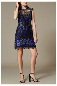 Womens Karen Millen Purple Metallic Coated Floral Embroidery Dress -  Purple