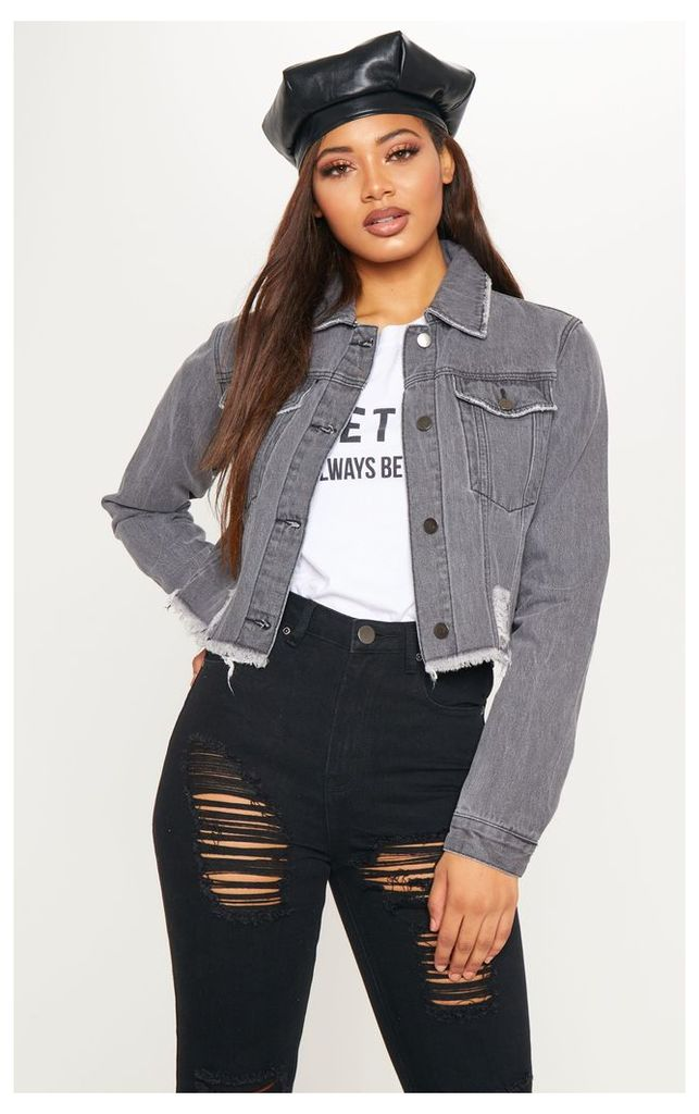 Tall Charcoal Cropped Denim Jacket, Charcoal Grey