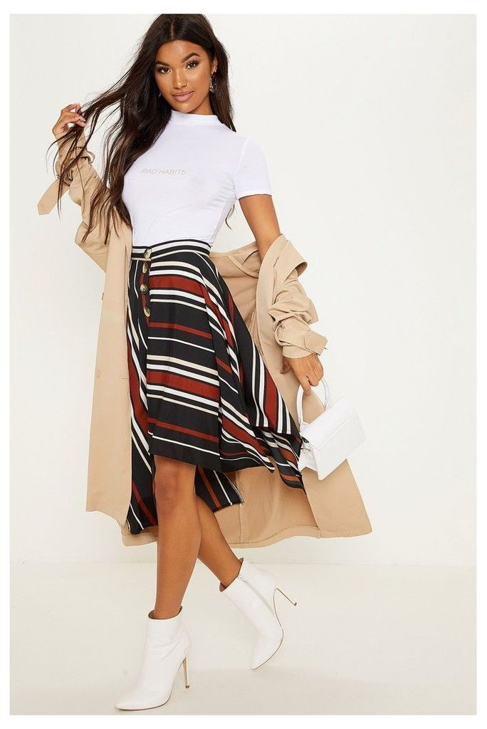 Womens PrettyLittleThing Asymmetric Mix Stripe Midi Skirt -  Black