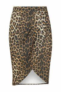 Womens Boohoo Curve Wrap Midi Skirt -  Black