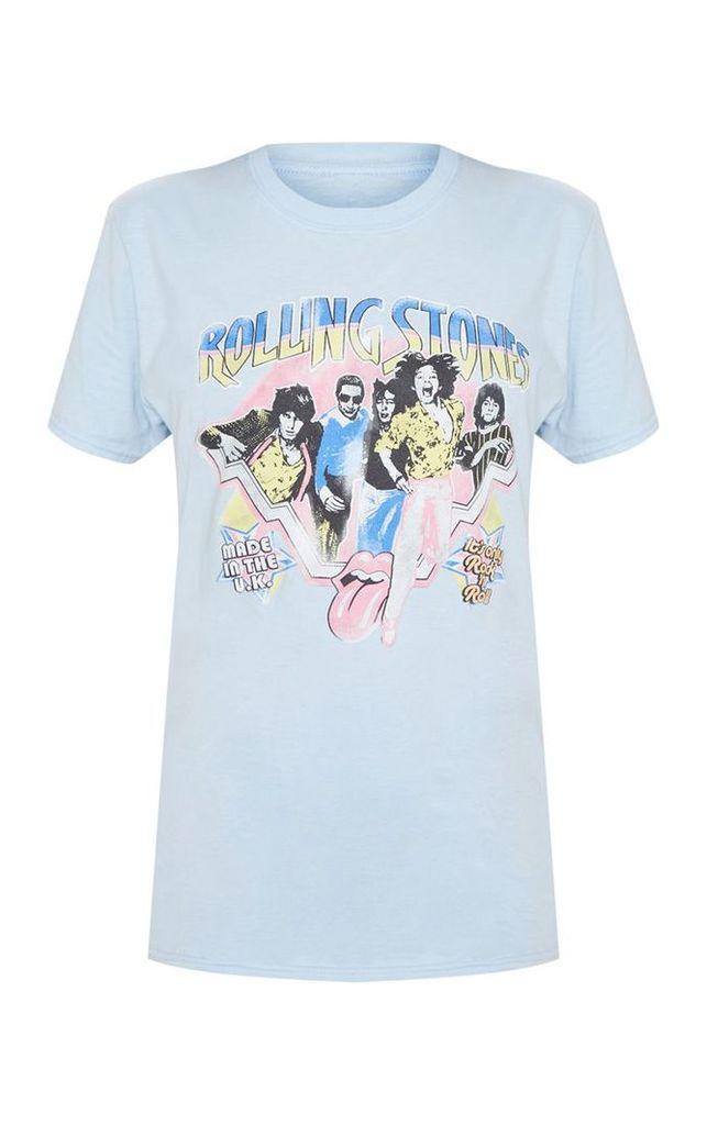 Light Blue Rolling Stones Print Oversized T shirt, Light Blue