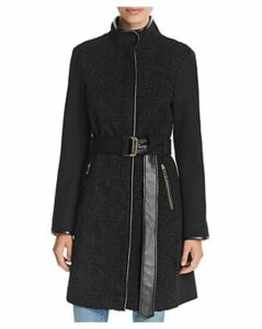 Vince Camuto Faux Sherpa Front Belted Coat