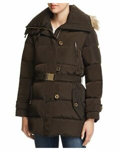 Michael Michael Kors Belted Button-Front Puffer Coat