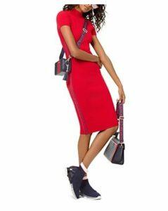 Michael Michael Kors Logo Tape Ribbed Knit Dress
