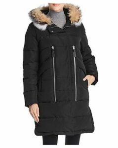 Derek Lam 10 Crosby Hooded Fox Fur Trim Mixed Media Down Coat