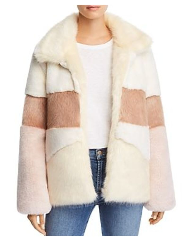 Apparis Amy Color-Blocked Faux-Fur Coat