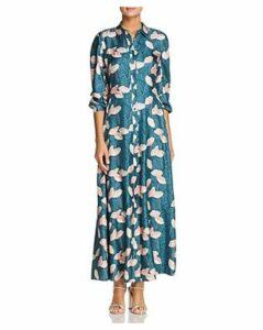 Lafayette 148 New York Siya Silk Maxi Shirt Dress