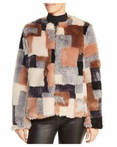 La Vie Rebecca Taylor Patchwork Faux-Fur Coat