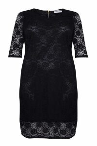Womens Glamorous Curve Lace Bodycon Midi Dress -  Black