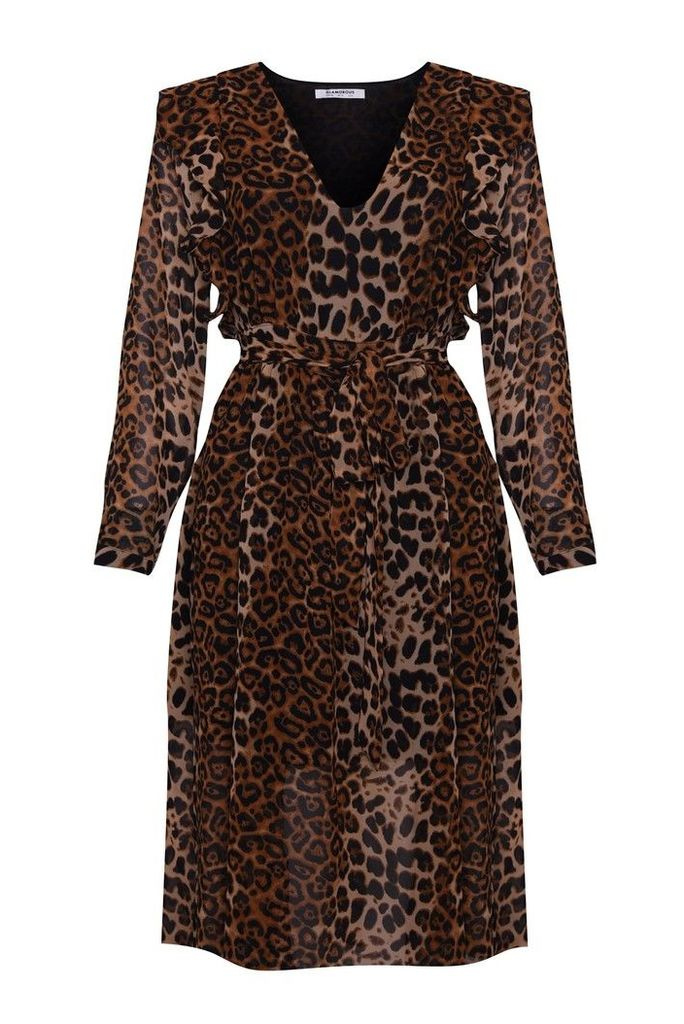 Womens Glamorous Curve Animal Print Midi Dress -  Black