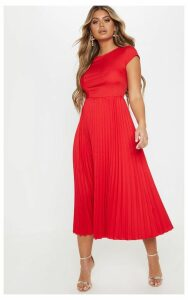 Red Cap Sleeve Pleated Midi Skater Dress, Red