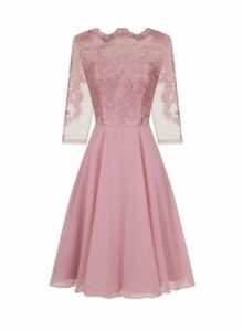 Womens *Chi Chi London Rose Gold Embroidered Midi Skater Dress- Rose Gold, Rose Gold