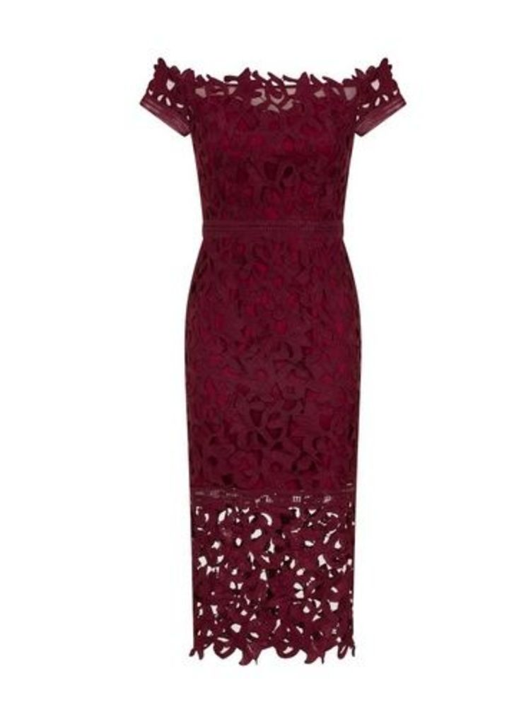 Womens *Chi Chi London Burgundy Bardot Crochet Bodycon Dress- Burgundy, Burgundy
