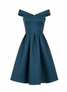 Womens *Chi Chi London Teal Bardot Midi Skater Dress- Teal, Teal