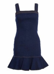 Womens *Quiz Navy Denim Frill Bodycon Dress- Blue, Blue