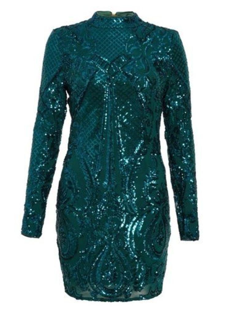 Womens *Quiz Green Sequin Bodycon Dress- Green, Green