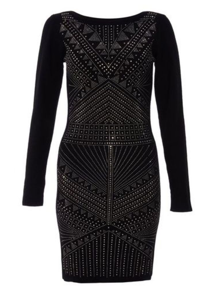 Womens *Quiz Light Knit Embellished Bodycon Dress- Black, Black
