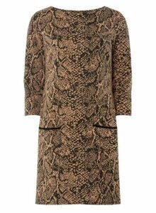 Womens Multi Colour Animal Print Jacquard Shift Dress- Multi Colour, Multi Colour