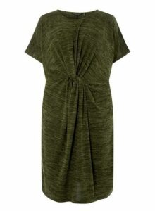 Womens **Dp Curve Khaki Brushed Twist Bodycon Dress- Khaki, Khaki