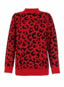 Womens *Quiz Red And Black Knitted Jumper- Red, Red