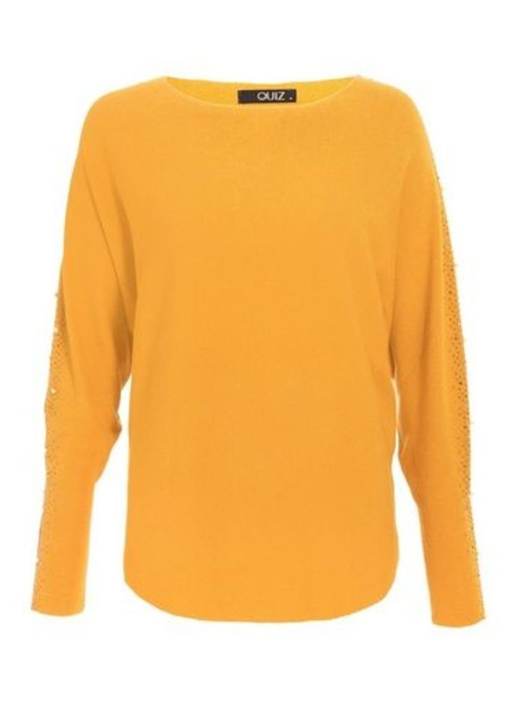 Womens *Quiz Yellow Embellished Batwing Jumper- Yellow, Yellow