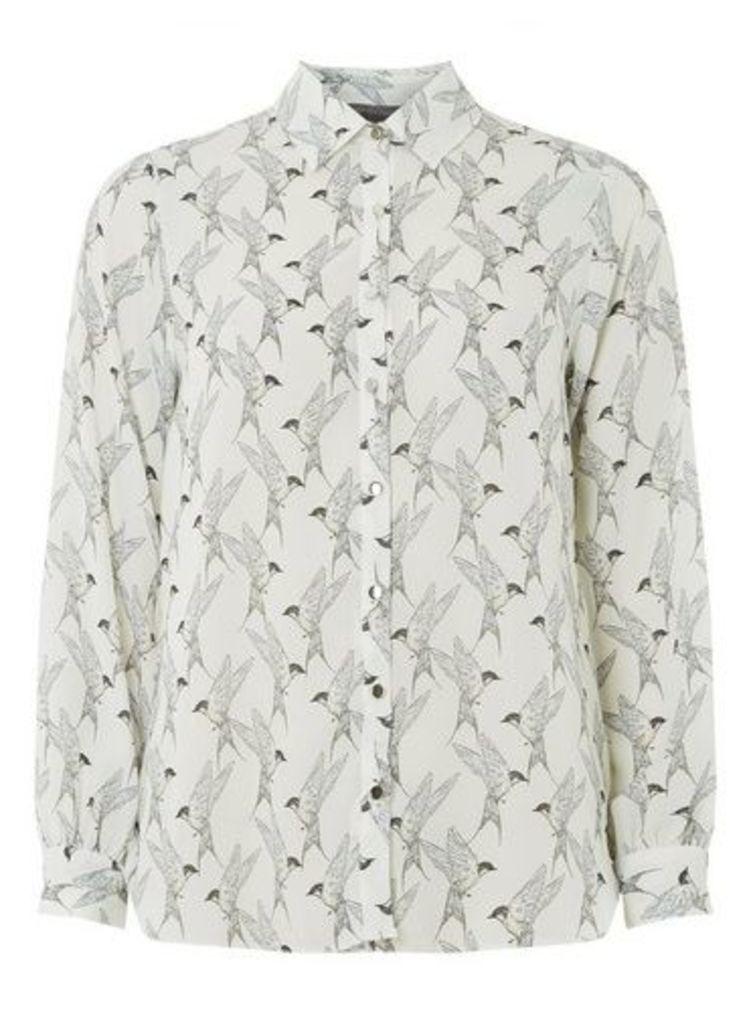 Womens Petite White Bird Print Shirt- White, White
