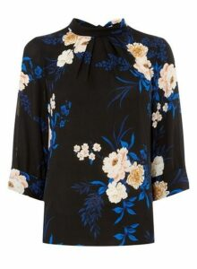 Womens Black And Cobalt Floral Print 3/4 Sleeve Top- Black, Black
