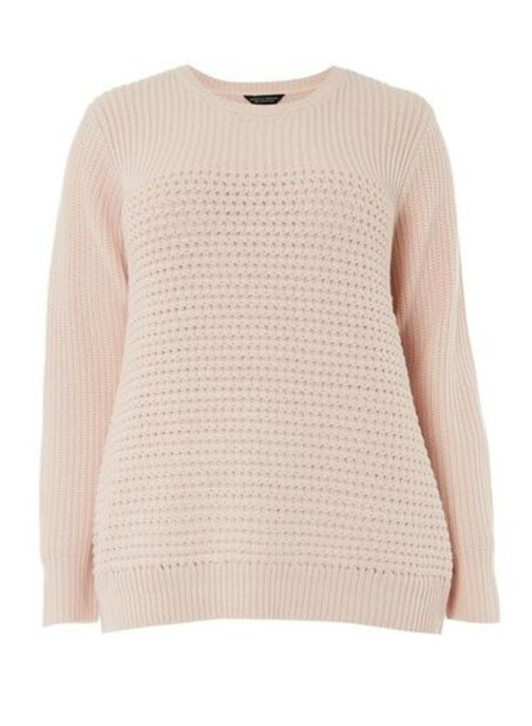 Womens **Dp Curve Blush Tuck Stitch Jumper- Pink, Pink