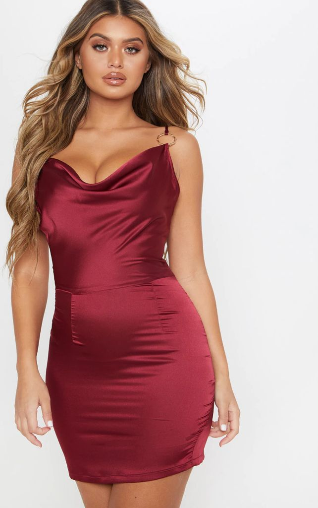 Burgundy Satin Cowl Neck Ring Detail Bodycon Dress, Red