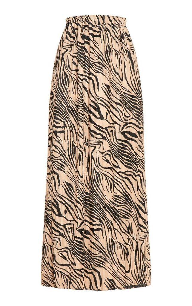 Tall Taupe Tiger Print Pleated Midi Skirt, Orange