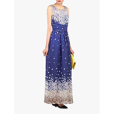 Jolie Moi Floral Print Belted Maxi Dress, Royal Blue