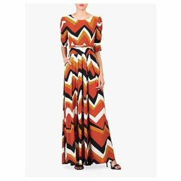 Jolie Moi Geometric Print Ruched Sleeve Maxi Dress