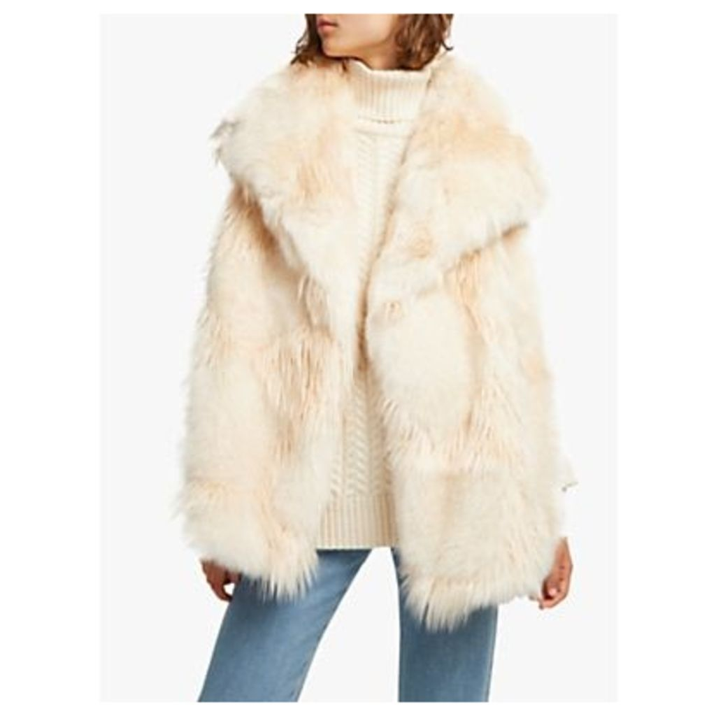 French Connection Marion Faux Fur Wrap Gilet, Classic Cream
