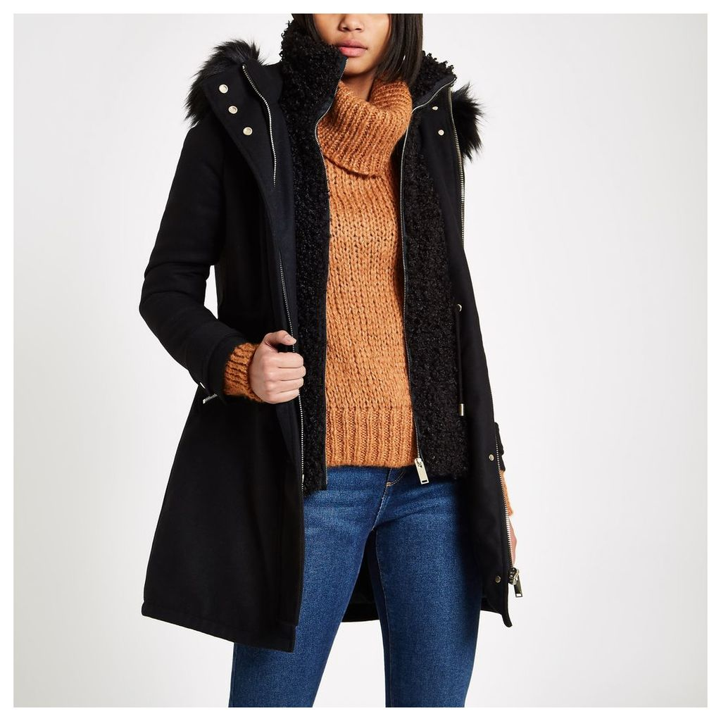 Womens Black faux shearling double layer coat