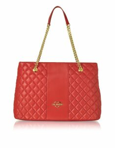 Love Moschino Designer Handbags, Quilted Eco Leather Tote Bag