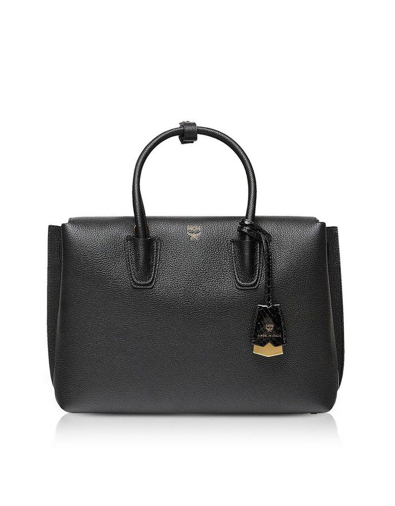 MCM Designer Handbags, Black Grained Leather Milla Medium Tote