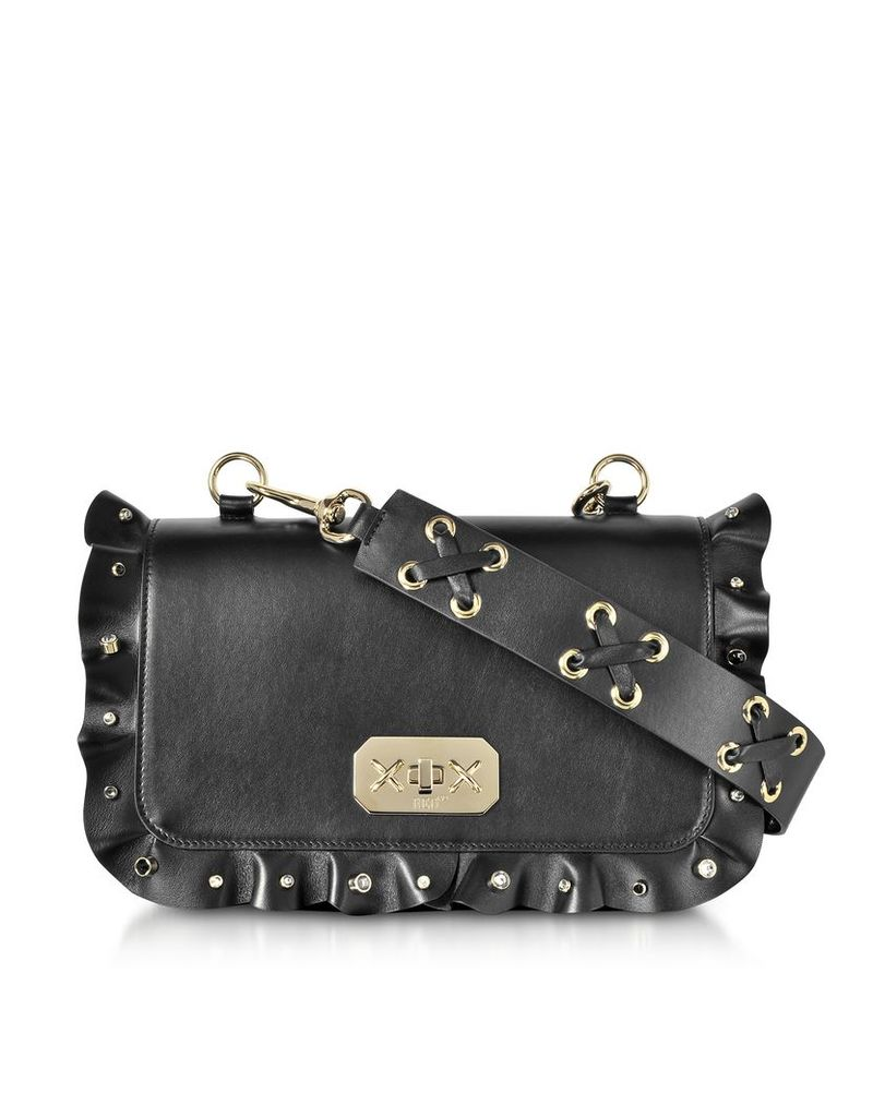 RED Valentino Designer Handbags, Black Ruffles Leather Shoulder Bag