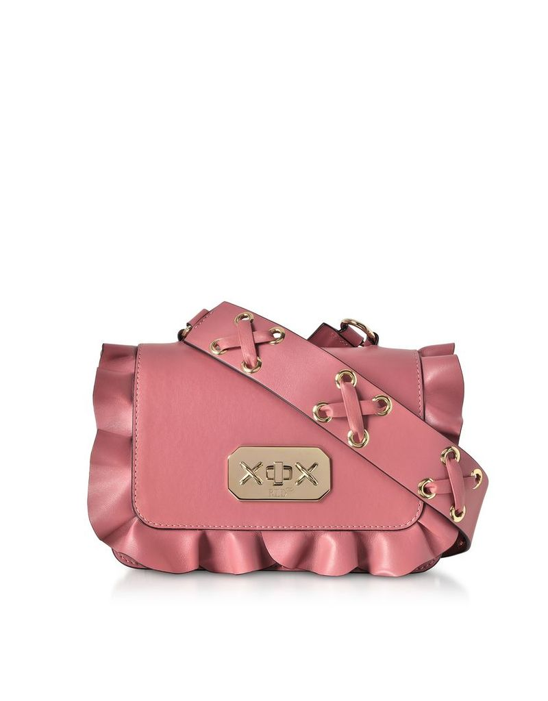 RED Valentino Designer Handbags, Pink Leather Ruffle Small Shoulder Bag