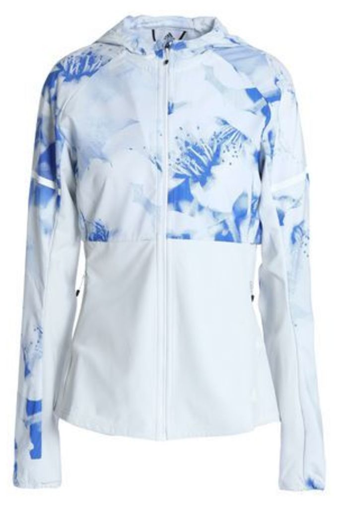 Adidas Woman Paneled Printed Tech-jersey Hooded Jacket White Size M
