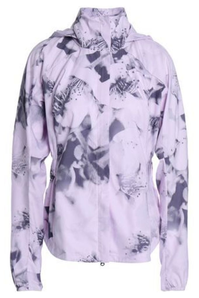 Adidas Woman Printed Stretch Hooded Jacket Baby Pink Size L