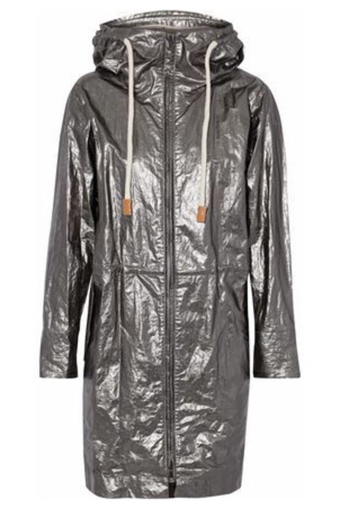 Belstaff Woman Coated Metallic Canvas Hooded Jacket Brass Size 40