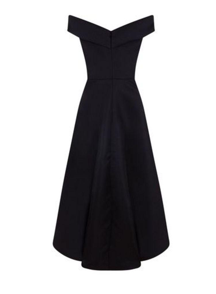 Womens *Chi Chi London Black Bardot Dip Hem Skater Dress- Black, Black